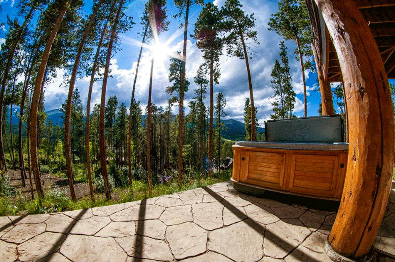 Arctic Spas Hot tub in the backyard overlook forrest
